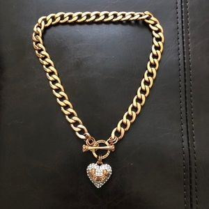 ROSE GOLD BANNER HEART STARTER NECKLACE